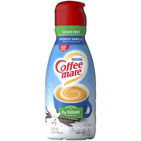 This product also contains the trans fat oil, sodium caseinate, and dipotassium phosphate. Sugar Free French Vanilla Coffee Creamer   Liquid   Coffee-mate