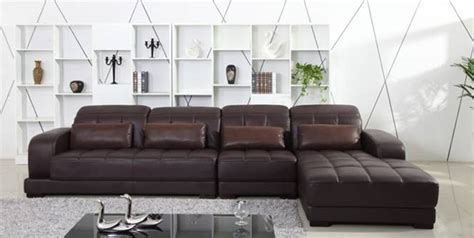 classic coffee color top grain leather sofa l shaped