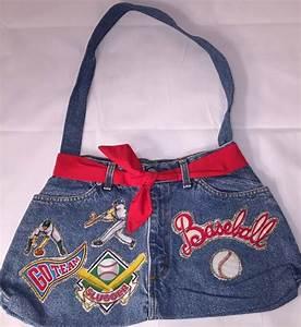 New Denim u0026quot;Baseballu0026quot; Purse Hobo Tote Shoulder Bag Handbag ...