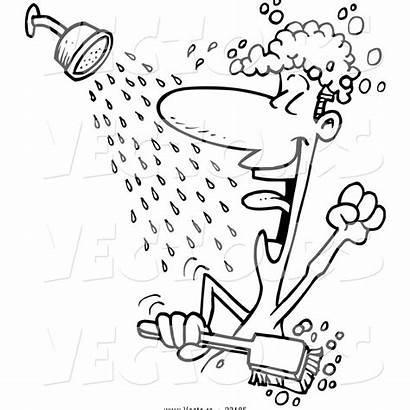 Shower Singing Coloring Outline Cartoon Guy Mandi