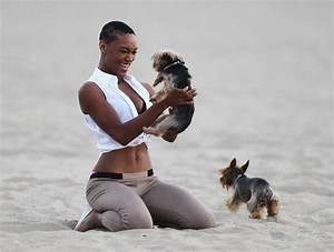 Montana Fishburne Walks Her Dogs on the Beach - Zimbio
