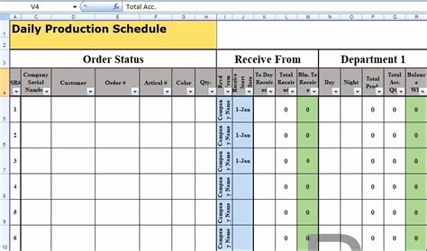 production schedule template excel   excel