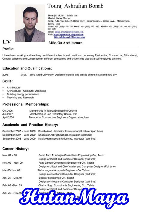 contoh curriculum vitae in design resume template