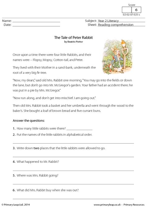 reading comprehension the tale of rabbit