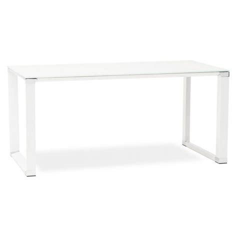 bureau en verre blanc bureau droit design boin en verre trempé blanc
