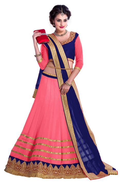 Decorative Wedding Plates by Buy Pink Georgette Semi Stitched Ghagra Choli Online