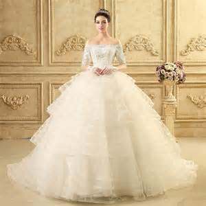 the shoulder wedding dress with lace sleeves aliexpress buy europe designer the shoulder half sleeves lace beaded tassel gown