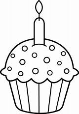 Cupcake Birthday Coloring Clip Line Sweetclipart sketch template