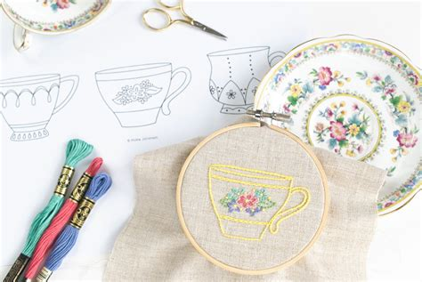 teacup trio hand embroidery pattern