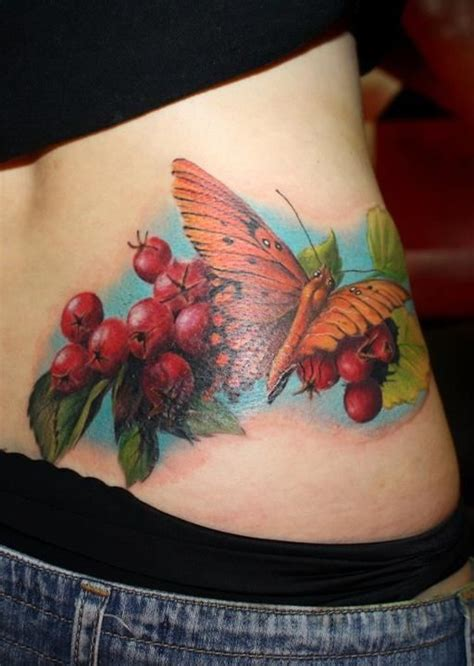 detailed tattoo   orange butterfly   vine