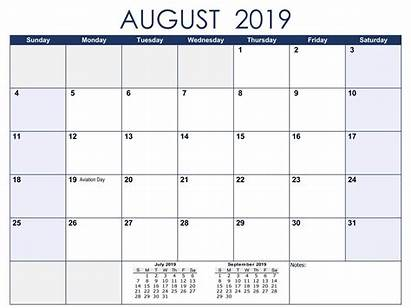 Calendar Printable August Monthly Calendars Template Excel