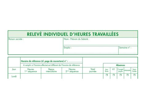 horaire bureau vallee exacompta registre individuel d 39 heures travaillées