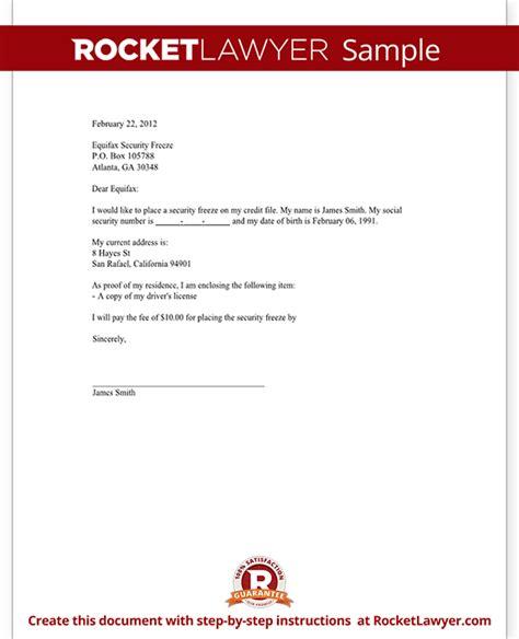 credit freeze request letter  credit bureaus