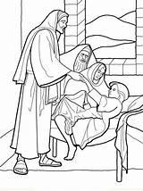 Coloring Jesus Sick Heals Pages Popular sketch template