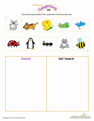 preschool worksheets categories