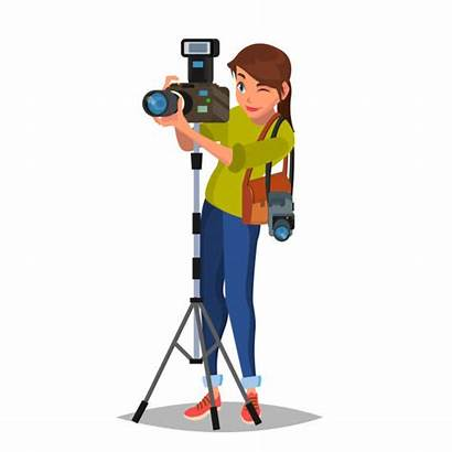 Photographer Vector Clip Take Female Cartoon Camera