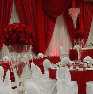 Red and white backdrop and decor | Wedding Venues | Pinterest