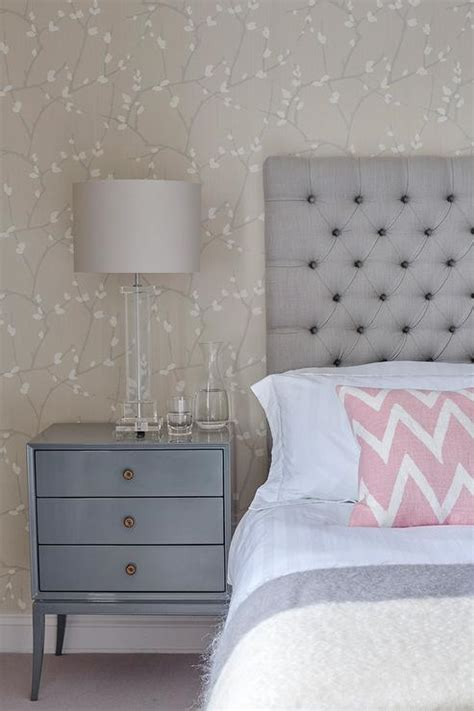 gray  blue bedroom  pink accents transitional