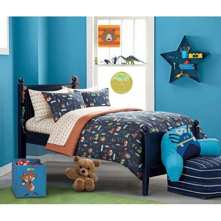 28053 mainstays bedding set mainstays woodland safari boy bed in a bag bedding