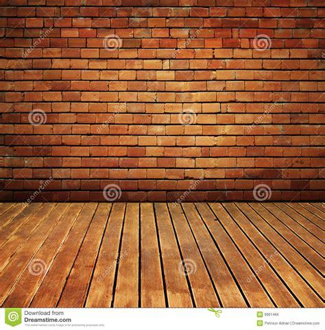 Vintage Brick Wall And Wood Floor Texture Interior Stock