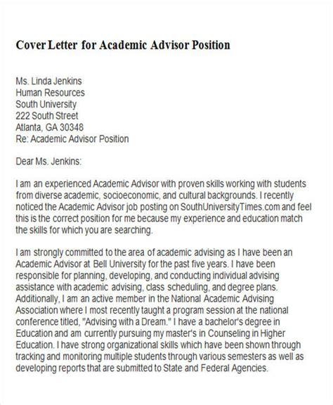 sample academic advisor cover letter templates