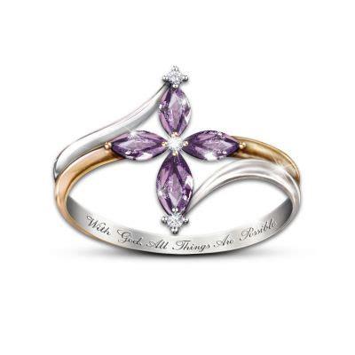 holy trinity amethyst  diamond womens cross ring