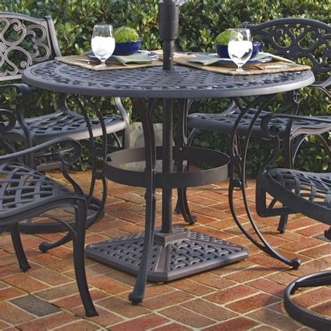 42 inch black metal outdoor patio dining table with