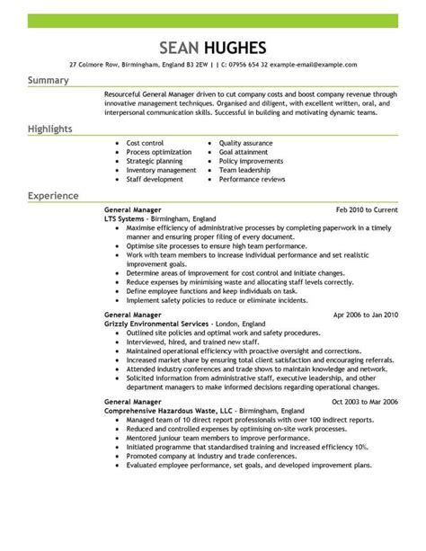 Manager Resume Exles by Best General Manager Resume Exle Livecareer Print