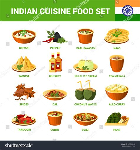cuisine stock indian cuisine food set different dishes stock vector
