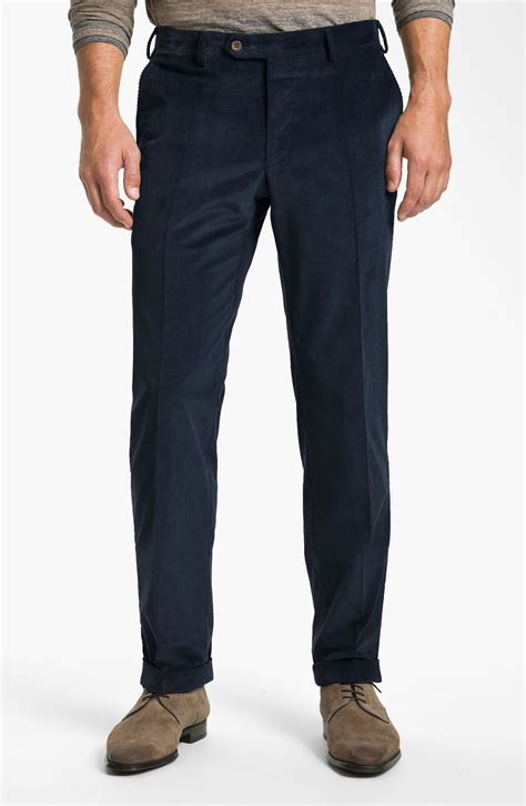 light blue corduroy pants mens canali flat front corduroy pants in blue for men lyst