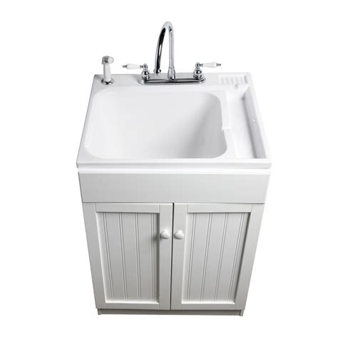 utility sink faucet lowes shop asb 25 in x 22 in white freestanding composite
