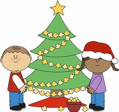Christmas Clipart Clip Tree Popcorn Stringing Children