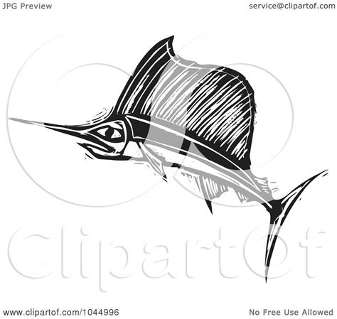 royalty free rf clipart illustration of a black and white woodcut style swordfish by