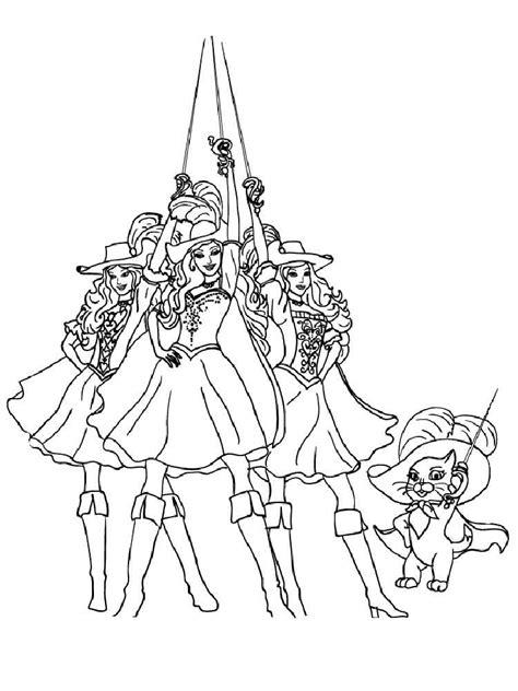 barbie    musketeers coloring pages  printable barbie    musketeers