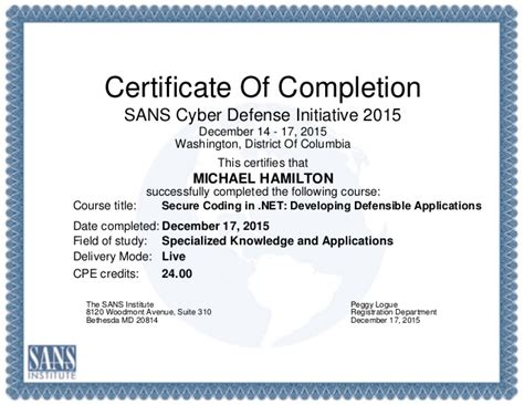 Ceu Certificate Template by Secure Coding In Net Developing Defensible Applications