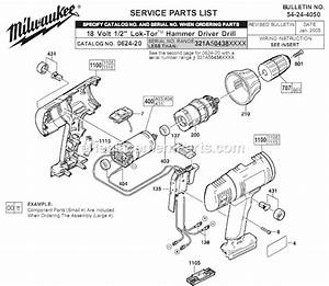 Milwaukee 0624-20 Parts List And Diagram
