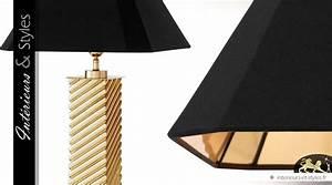 Abat Jour Salon : lampe de salon design en laiton dor poli avec abat jour noir int rieurs styles ~ Teatrodelosmanantiales.com Idées de Décoration