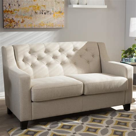 Upholstered Loveseat by Baxton Studio Arcadia Contemporary Beige Fabric