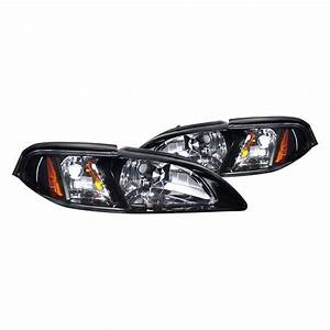Spec-D® - Ford Mustang 1998 Black/Smoke Euro Headlights with Corner Lights