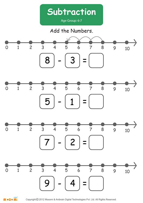 Subtraction Worksheet #01  Math For Kids Mocomi