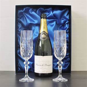 engraved flutes and chagne presentation box
