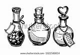 Potion Poison Bottles Drawing Hand Bottle Drawn Potions Coloring Template Vector Illustration Clip Sketch Converted Shutterstock Artwork sketch template