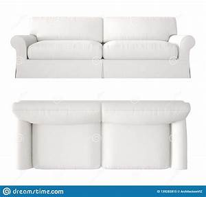 Single White Fabric Modern Sofa Isolated On Blank ...