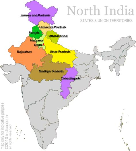 Map of States and North India
