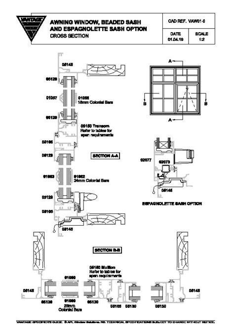 drawings  residential awning  casement windows  vantage windows doors eboss