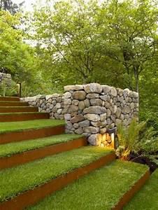 beautiful cloture jardin terrain en pente photos With amenagement exterieur terrain en pente 14 escalier exterieur les perrin