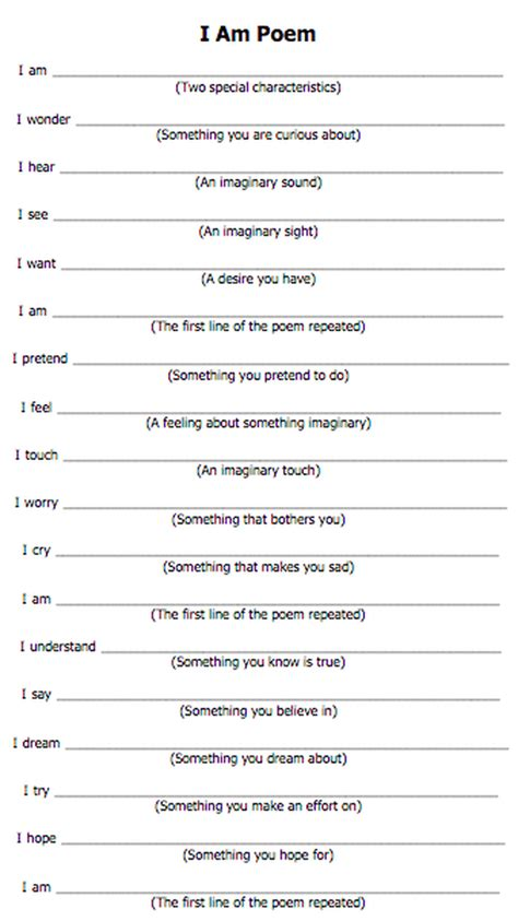 I Am Poem Template And Provided You With Feedback I Am Poem Template