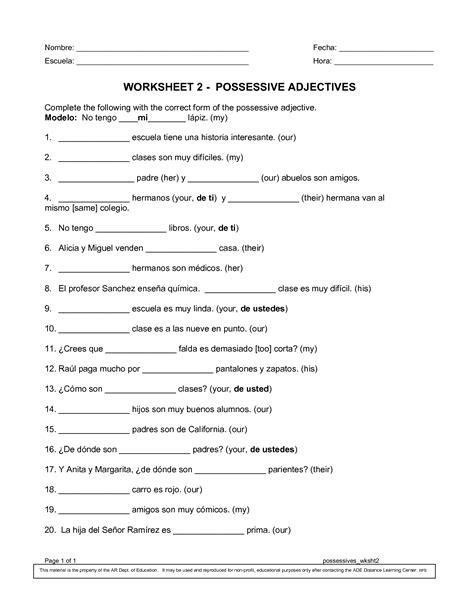 possessive pronoun exercises for grade 1 second grade