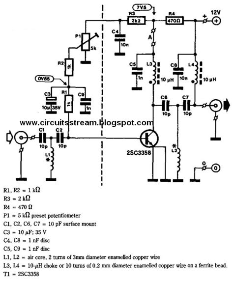 simple uhf line lifier wiring diagram schematic