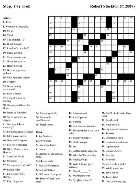 Newspaper Printable Crossword Puzzles - Printable Pages